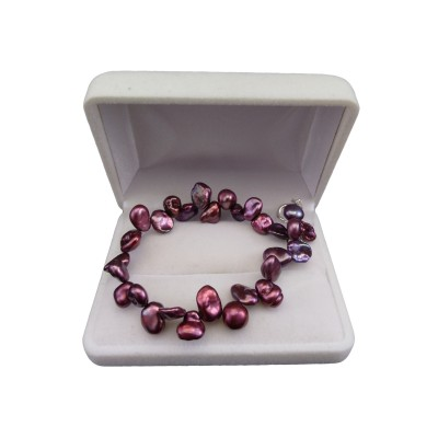 Bracelet made of real irregular purple pearls 19 cm PB40-A