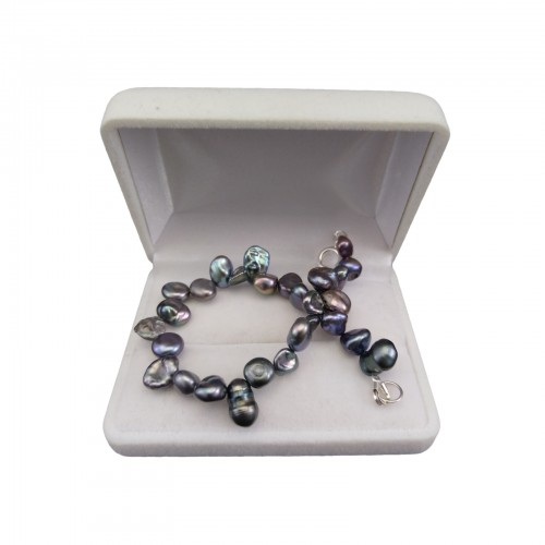 Silver bracelet with real irregular pearls 19 or 20 cm PB40-B