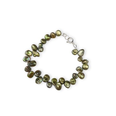 Bracelet made of green pearls PB40-C