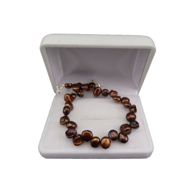 Bracelet made of real irregular brown pearls 20 cm PB40-D