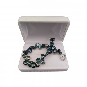 Bracelet with real dark green irregular pearls 20 cm PB40-E