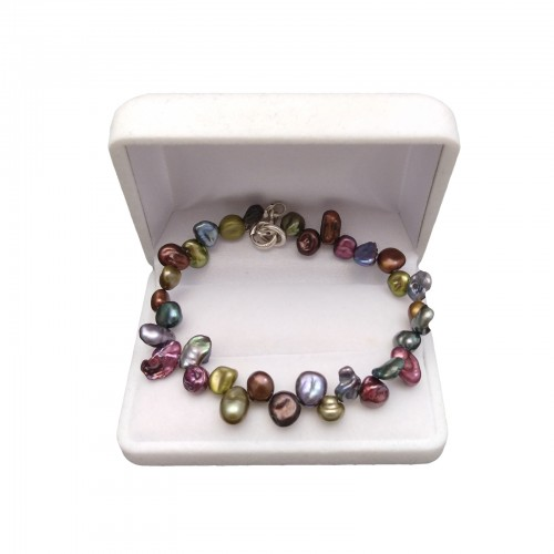 Bracelet made of real multicolored pearls 18, 19 or 21 cm PB40