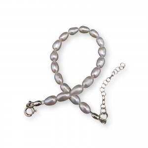 Classic bracelet with white pearls small rice 18, 19 or 20 cm PB41