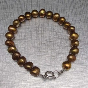 Bracelet with real pearls golden brown 18, 19, 20 or 21 cm PB46