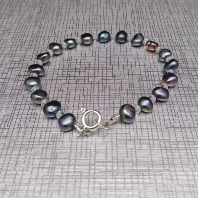 Graphite color corn pearls bracelet with beads PB52-A-1