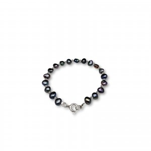 Bracelet made of real graphite pearls corn with beads 19 cm PB52-A-1
