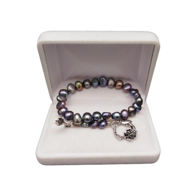 Bracelet made of real pearls color graphite corn with a decorated clasp 19 cm PB52-A-2