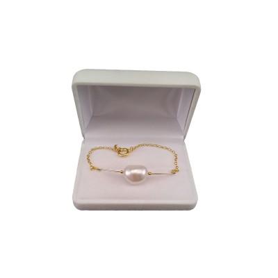Bracelet made of genuine white baroque pearls 18 cm PBP02