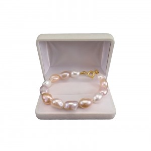 Bracelet made of real multicolored pearls, baroque 19, 20 or 21 cm PBP06-1D