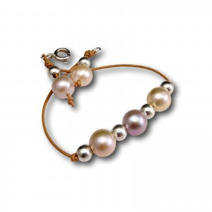 Bracelet made of real pink round pearls on a thong 20 cm PBR13MIX-1
