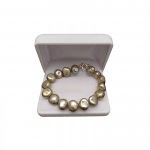 Bracelet - big corn pearls, golden green PGB04