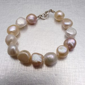 Multicolored bracelet with real pearls, great corn 19, 20 or 21 cm PGB07-1