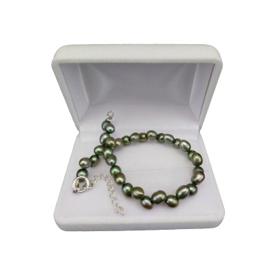 Bracelet with real pearls green rice 19 cm PGB33-A