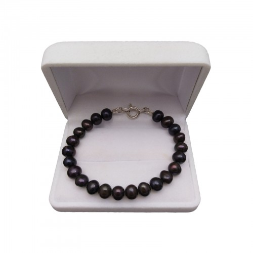 Classic bracelet with black pearls 18, 19 or 20 cm PGB33-C