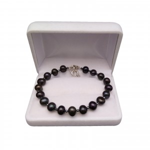 Bracelet made of real black pearls and hematite PGB33-H