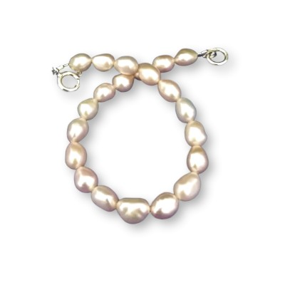 Bracelet made of real light pink rice pearls 18, 19 or 20 cm PB35-B