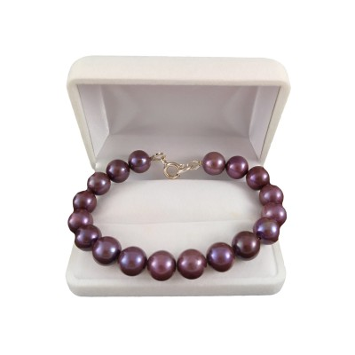 Bracelet - round pearls eggplant PGB37