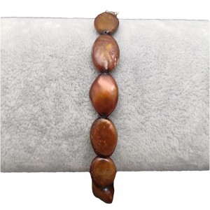 Bracelet made of brown coin beads 19 or 20 cm PGB48