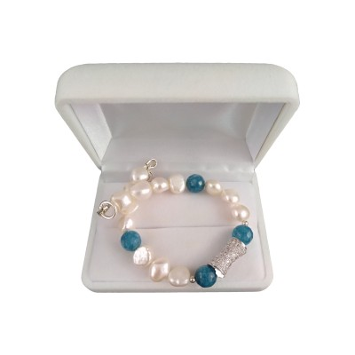 Bracelet with real pearls and jade 19 cm PGBpeika01