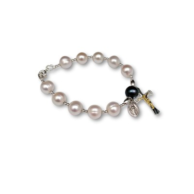Bracelet decade rosary with white round pearls 19 cm PRB13