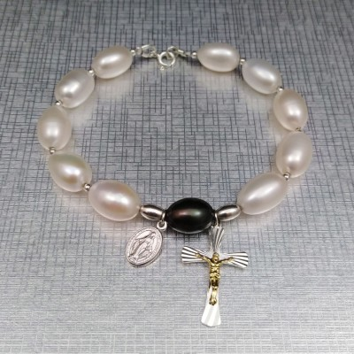 Bracelet ten rosary beads with white rice pearls 21 cm PRB45