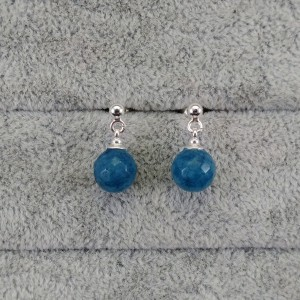 Turquoise faceted jade earrings on a KK20 stick