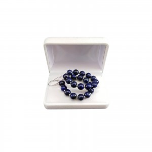 Silver earrings with lapis lazuli stone with decorative balls 6.5 cm KK28