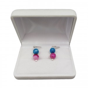 Silver earrings made of faceted color agates on biglu English KKW05