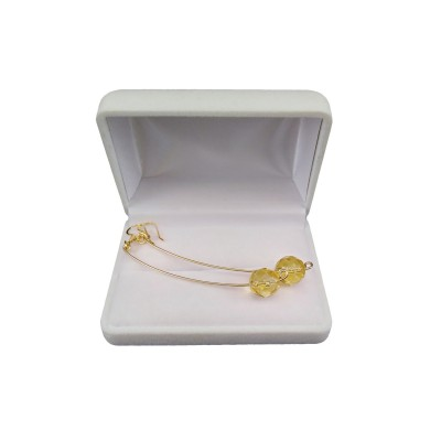 Gold-plated earrings with 10 mm faceted lemons KKW16