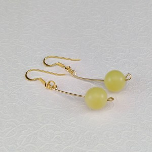 Gold plated jade earrings 10.5 mm KKW23