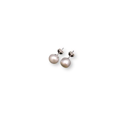 Silver earrings with white beads 9-9.5 mm stick PK10-A