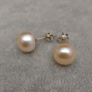 Silver earrings with pink 10-10.5 mm pearls PK08-B