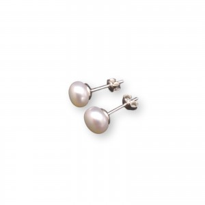 Earrings with real white pearls 7.5 - 8 mm on a silver stick PK04-A
