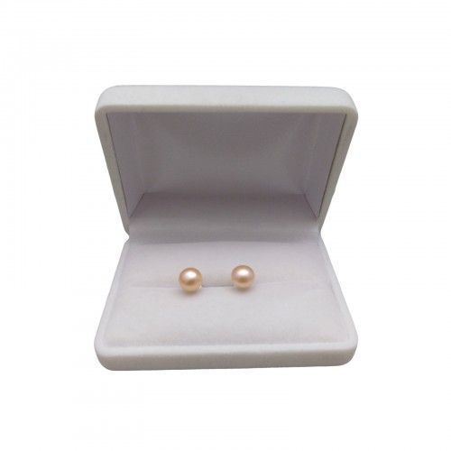 Classic earrings with pink pearls 7.5 - 8 mm on a silver stick PK04-B