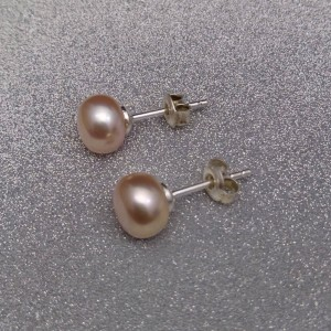 Earrings with real pink pearls 8- 8,5 mm on a silver stick PK05-B