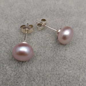 Classic earrings with pink pearl 8-8.5 mm on a silver stick PK05-C