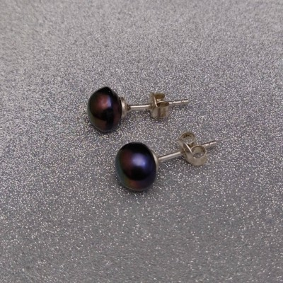 Earrings with real brown pearls 8 - 8.5 mm PK05-D