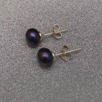 Earrings - black pearls 8-8.5 mm PK05-E