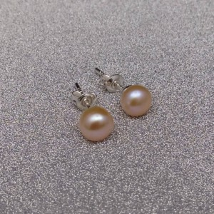Set of real pink pearls pendant and earrings KP27