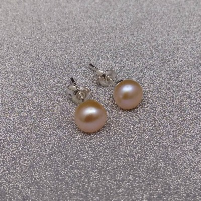 Silver earrings with pink pearl 6 - 6.5 mm stick PK06-B