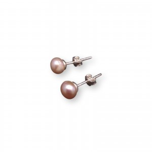 Earrings with real pearls of pink 6-6,5 mm PK06-C