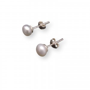 Earrings with real white pearls 6 - 6,5 mm on a silver stick PK07-A