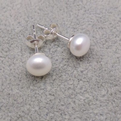 Earrings with real white pearls 5.5 - 6 mm on a silver stick PK07-A