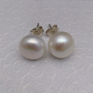 Silver earrings with real white pearls 11 mm stick PK08-A