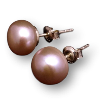 Earrings - silver-pink pearls 10-10.5 mm PK08-C