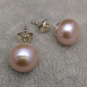 Silver earrings with blue and pink pearls 10 - 10,5 mm on the stick PK08-C
