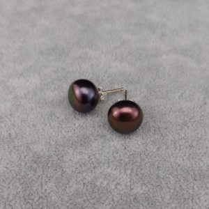 Silver earrings with brown pearls 11 mm on the stick PK09-D