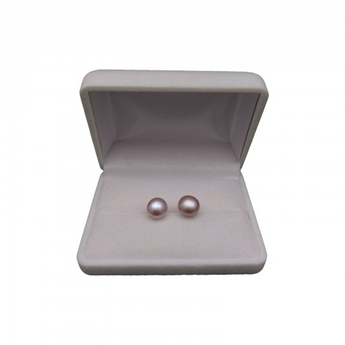 Classic earrings with pink pearls 9 - 9.5 mm on a silver stick PK10-B