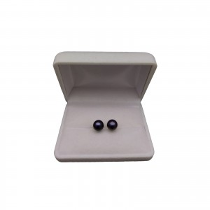 Silver earrings with black pearls 9 - 9.5 mm stick PK10-C