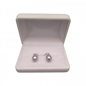 Silver earrings with pearls in the shape of a teardrop 8.5 - 9 mm on bigl English PK17
